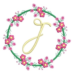 Letter J Floral Monogram Embroidery Design