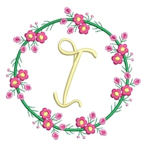 Letter I Floral Monogram Embroidery Design