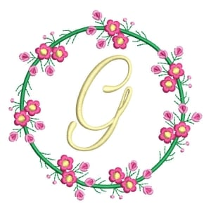 Letter G Floral Monogram Embroidery Design