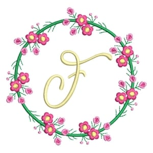Letter F Floral Monogram Embroidery Design