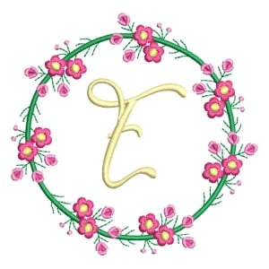 Letter E Floral Monogram Embroidery Design