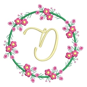 Letter D Floral Monogram Embroidery Design