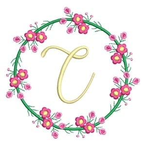 Letter C Floral Monogram Embroidery Design