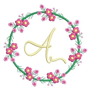 Letter A Floral Monogram Embroidery Design
