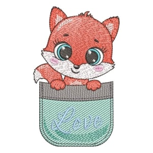 Fox in the pocket (Quick Stitch) Embroidery Design