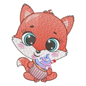 Fox with cupcake (Quick Stitch) Embroidery Design