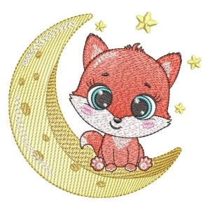 Fox on the moon (Quick Stitch) Embroidery Design