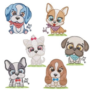 Puppies (Quick Stitch) Embroidery Design Pack