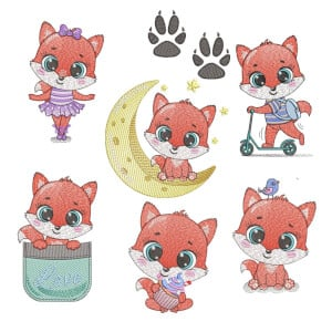 Beautiful foxes (Quick Stitch) Embroidery Design Pack