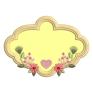 Floral Frame Applique Embroidery Design