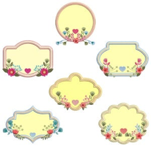Floral Frame Applique Embroidery Design Pack