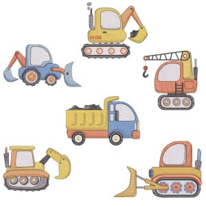 Building Vehicles (Quick Stitch) Embroidery Design Pack