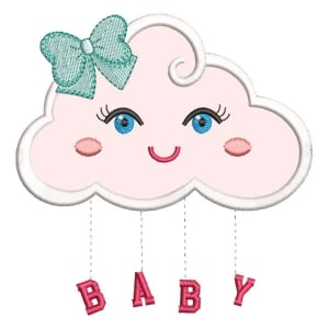 Cute Cloud (Applique) Embroidery Design
