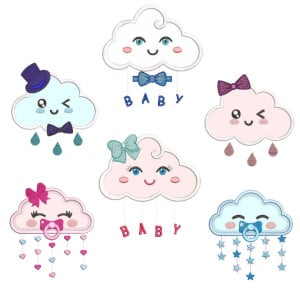 Funny Clouds (Applique) Embroidery Design Pack
