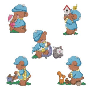 Little Bear Embroidery Design Pack