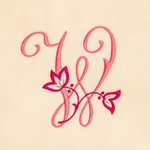Floral monogram Embroidery Design
