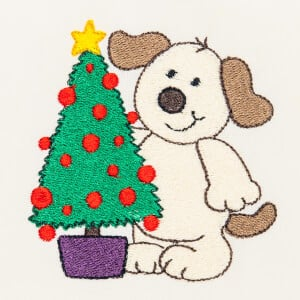 Matriz de bordado cachorrinho natal 9