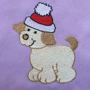 Matriz de bordado cachorrinho natal 15
