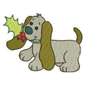 Matriz de bordado cachorrinho natal 16