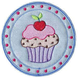 Matriz de bordado cupcake aplique 2