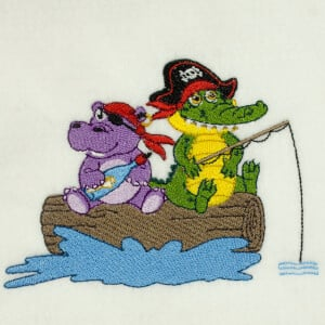 Pirate animals Embroidery Design