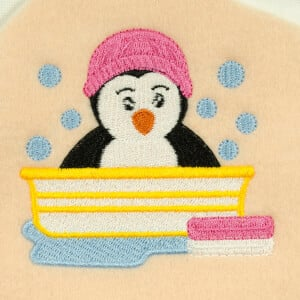 Animal bath Embroidery Design