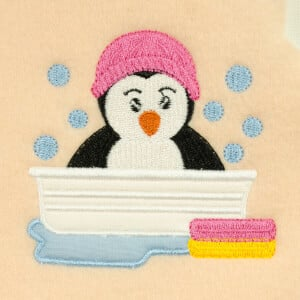 Animal bath applique Embroidery Design