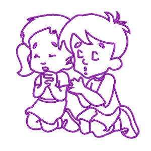 Matriz de bordado Crianças Orando