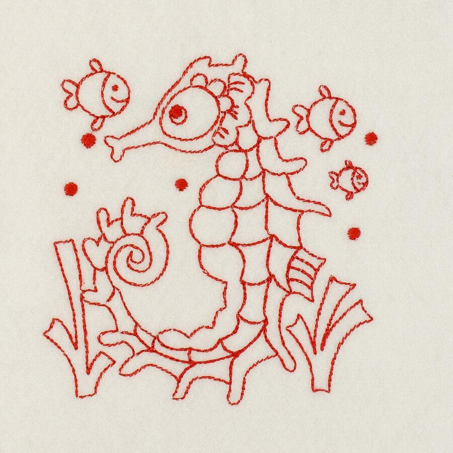 Matriz de bordado cavalo marinho redwork 8