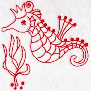 Matriz de bordado cavalo marinho redwork 4