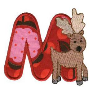 Matriz de bordado Monograma aplique infantil letra M