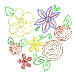 Matriz de bordado floral 06