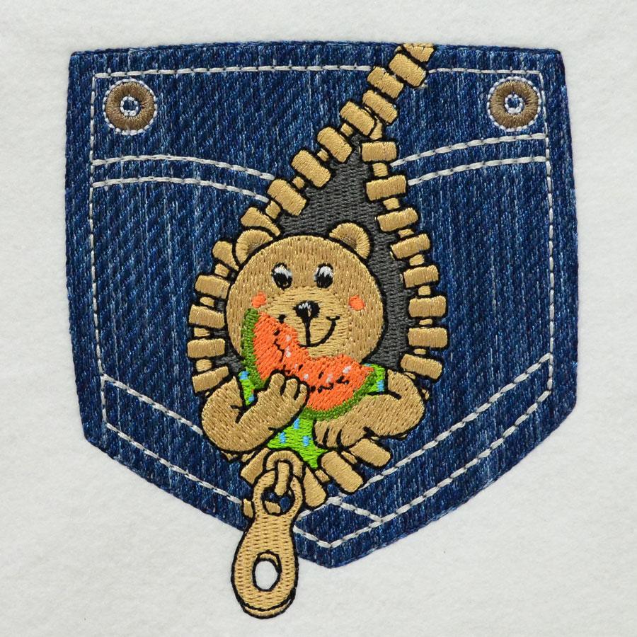 Matriz de bordado ursinho no bolso 1