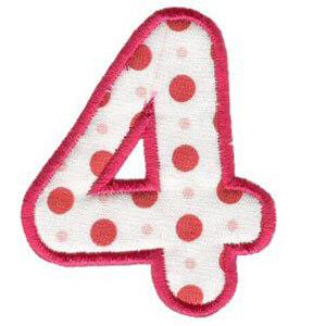 Matriz de bordado Monograma Aplique Infantil 3 Número 4
