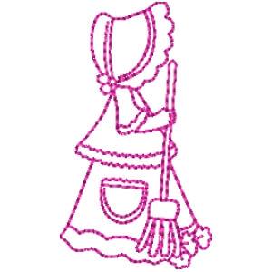 Matriz de bordado garotinha redwork 21
