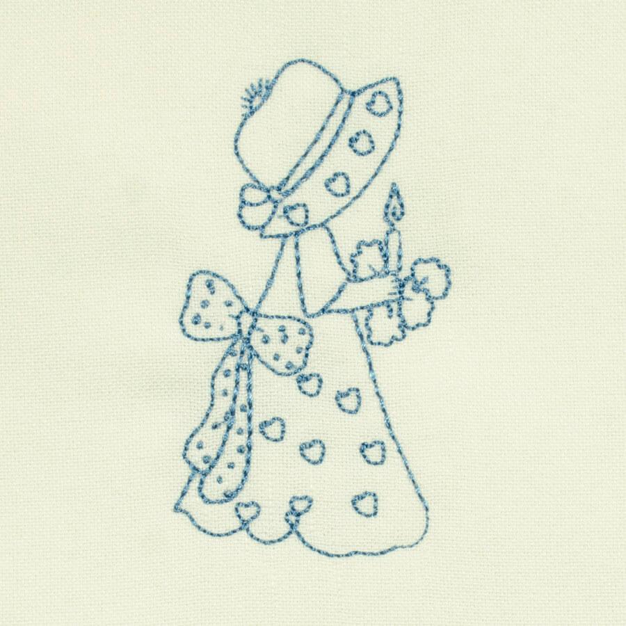 Matriz de bordado garotinha redwork 23