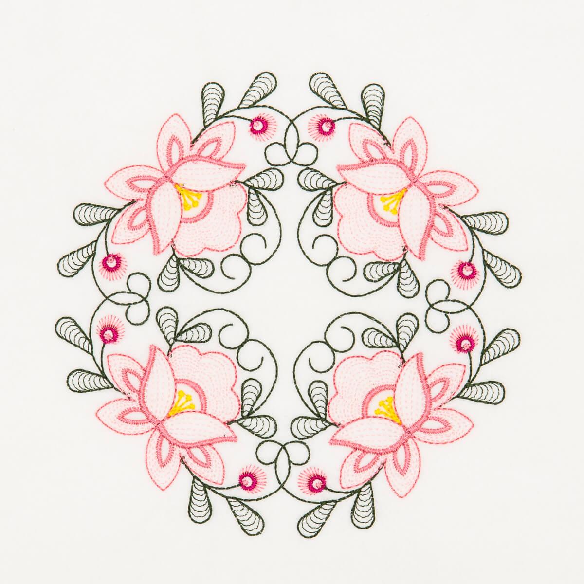 Matriz de bordado floral rippled 13