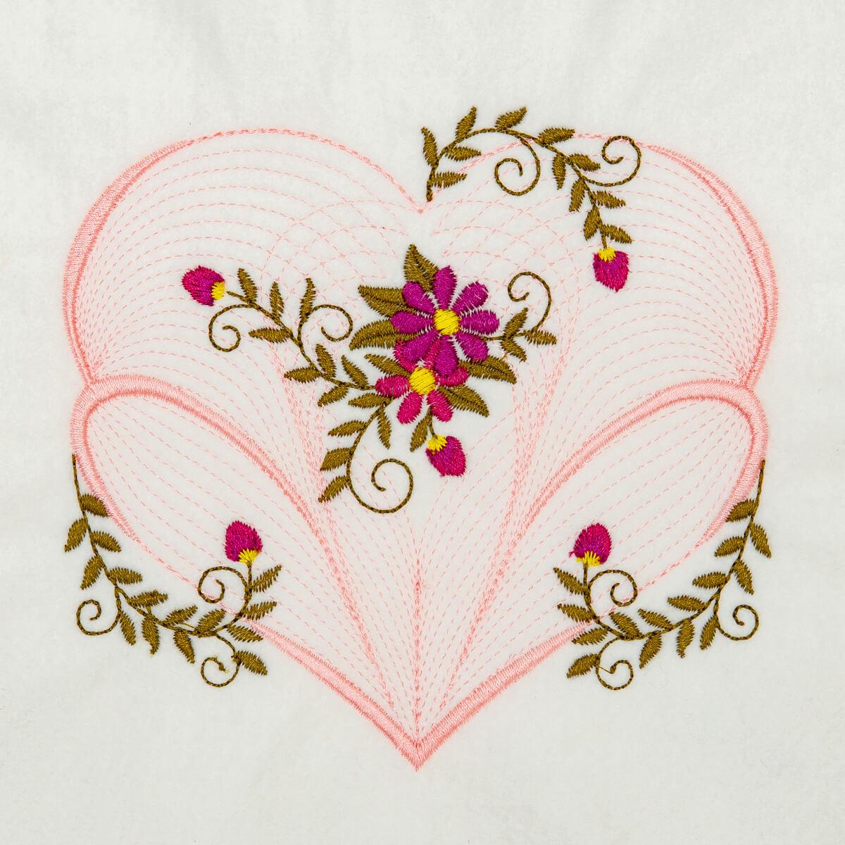 Matriz de bordado floral rippled 16