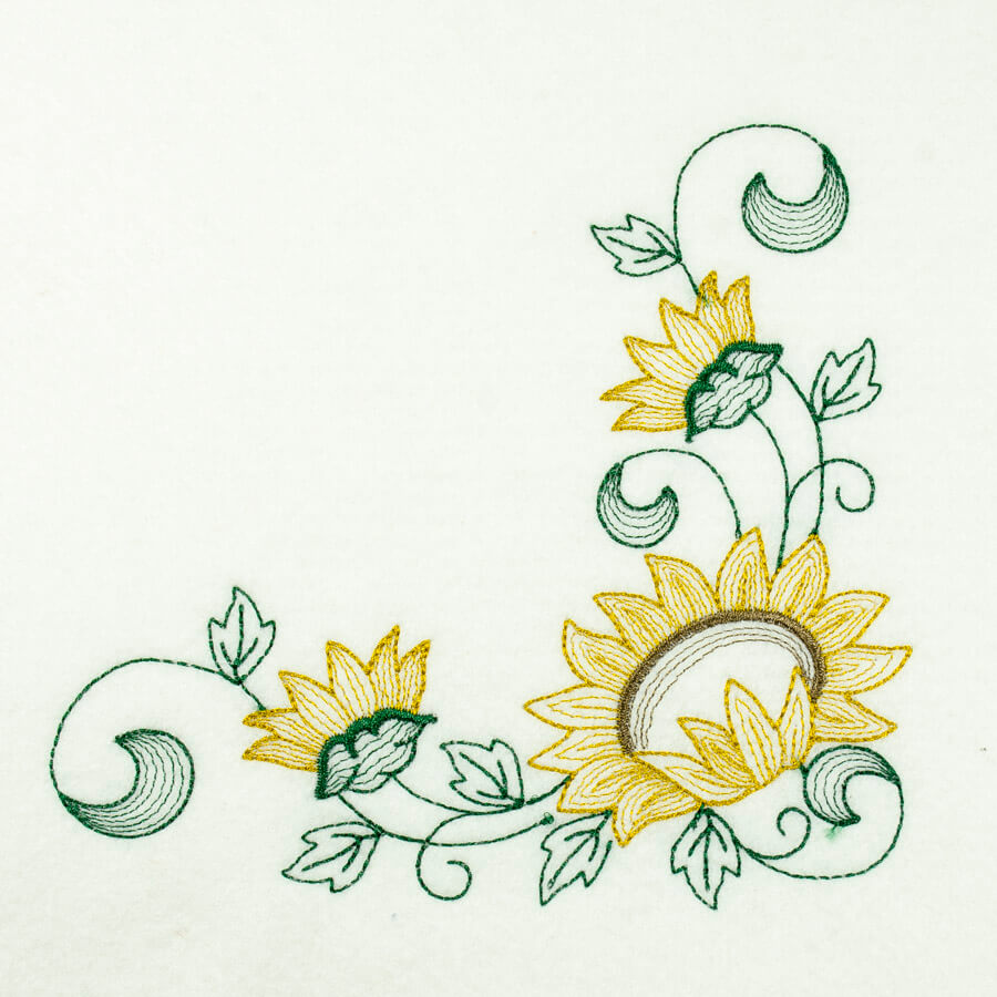 Matriz de bordado floral rippled 21